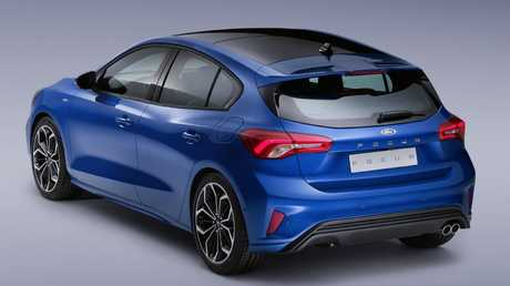 The rear three-quarter view has hints of Mazda3, Kia Cerato and Mercedes A Class but this is in fact the 2018 Ford Focus. Picture: Supplied.