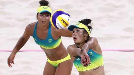 Mariafe Artacho del Solar and Taliqua Clancy in action in their semi-final against Vanuatu.