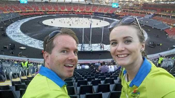 Tim and Kahlia Huddleston enjoying the Commonwealth Games opening ceremony dress rehearsal.