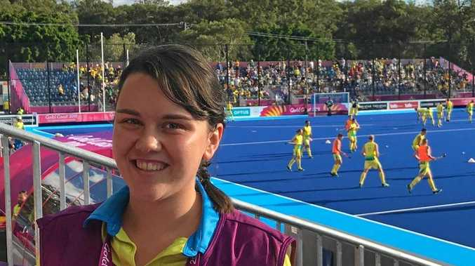 South Burnett reporter Jessica McGrath volunteering in the media team at the Commonwealth Games hockey centre on the Gold Coast.