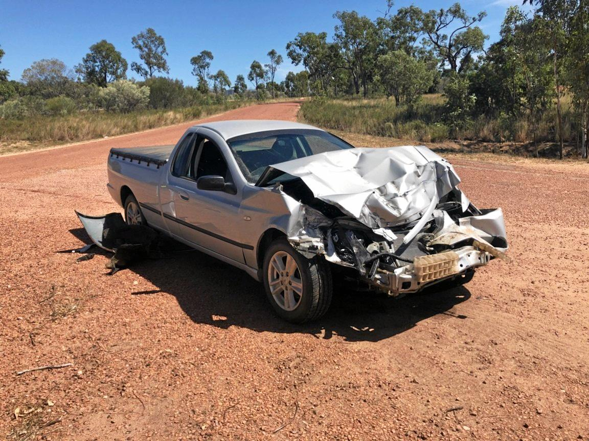 A 62-year-old Charters Tower man escaped serious injury after his ute slammed into the back of a truck at the Belyando Crossing Roadhouse today.