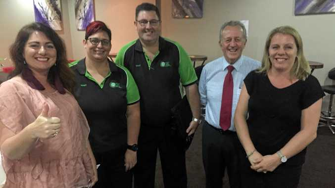 Juanita Halden, Wendy Barker, Andrew Barker, president Bob Bogie and executive secretary Karen Vloedmans at the Proserpine Chamber of Commerce meeting.