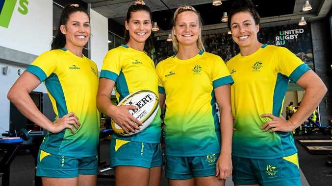 GOLD COAST BOUND: Australian rugby sevens women's team members Charlotte Caslick, Demi Hayes, Emma Sykes and Emilee Cherry.