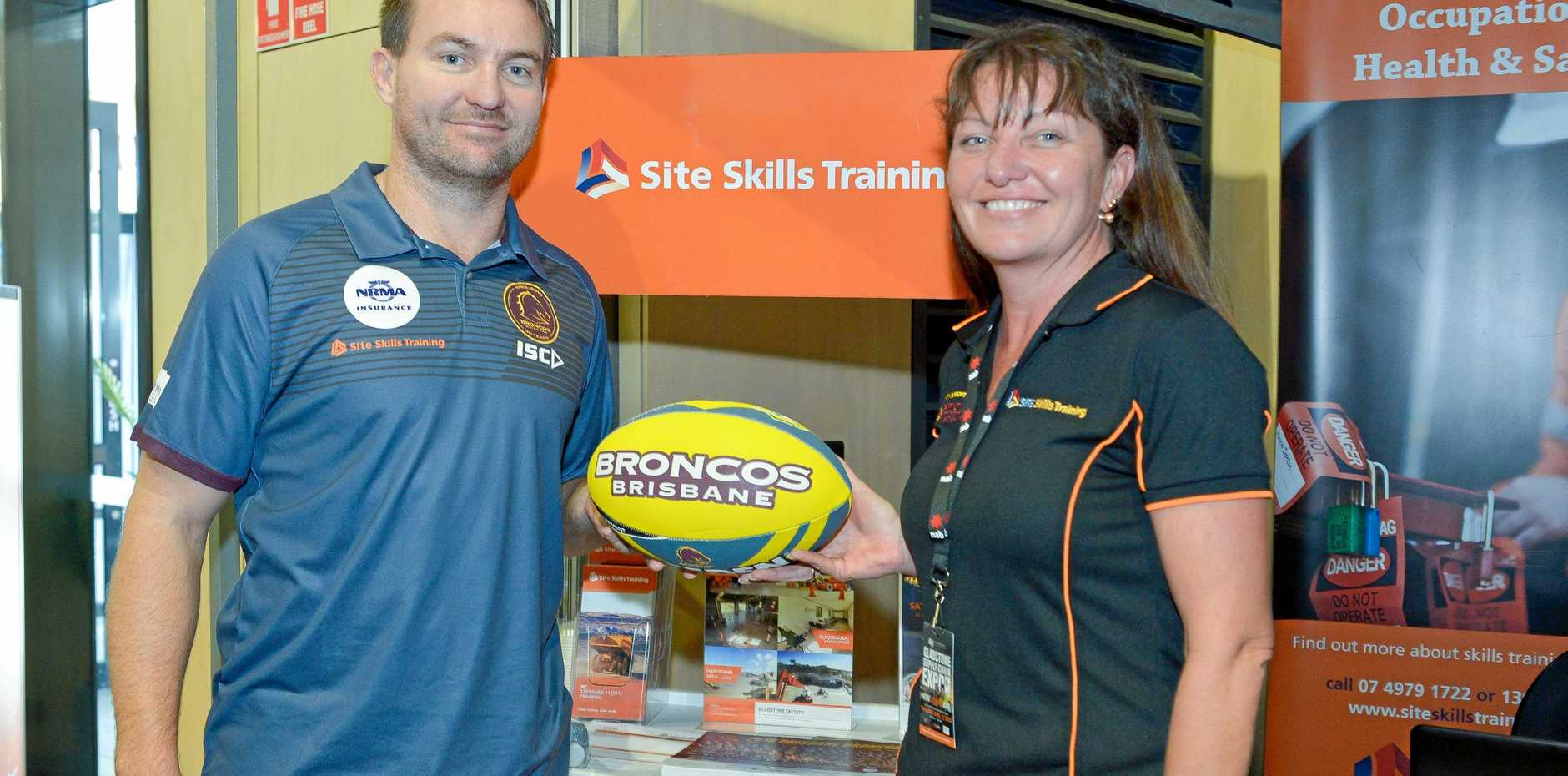 STAR POWER: Former Brisbane Broncos premiership winner Casey McGuire and Nicola Curtis from Site Skills Trainning at the GEA Gladstone Supply Chain Expo.