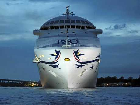 P&O Cruises' New-look Pacific Dawn Sails into Brisbane (bow).
