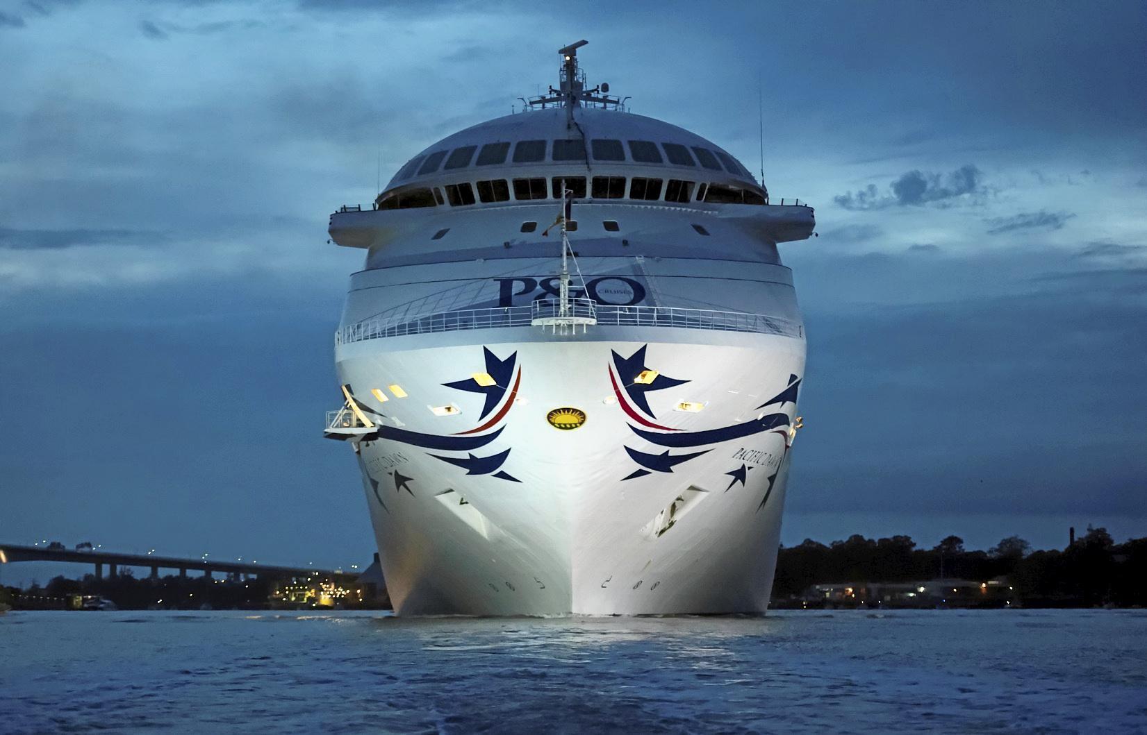 P&O Cruises' New-look Pacific Dawn Sails into Brisbane (bow).