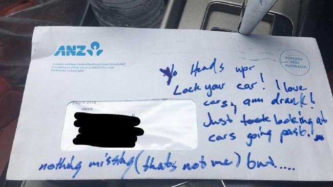 This letter was left in a car in Bracken Ridge.