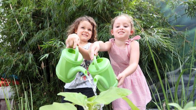 Reaserch shows gardening can help prevent depression in kids and help ease symptoms. Photo of Oliver Cross (4) and Zara Draeger (4). Photo by Richard Gosling
