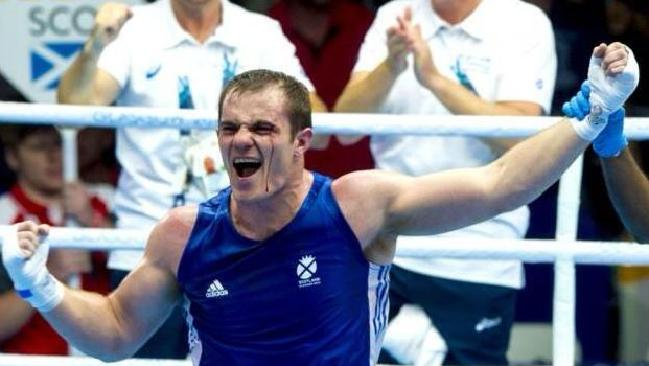 Scottish boxer Stephen Lavelle competing at the Commonwealth Games in Glasgow in 2014.