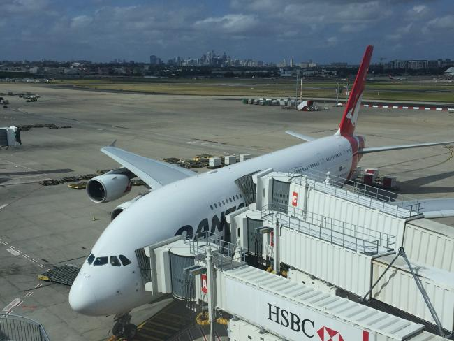 A Qantas plane at Sydney Airport, bound for Dubai. Picture: G B_NZ