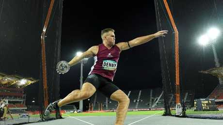 Denny won gold in the men's discus at the Australian Athletics Championships in February.