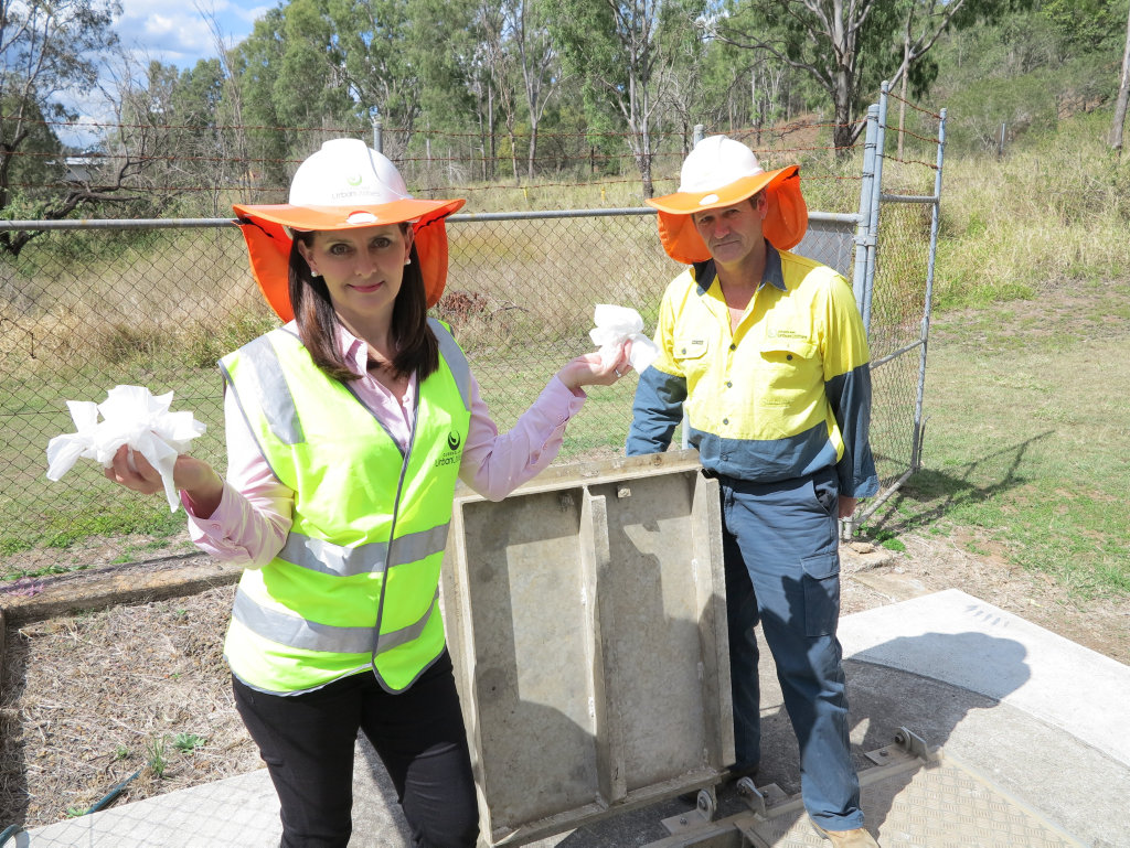 QUU's Michelle Cull and Stephen Tribe at Banks Creek pump station at Fernvale.