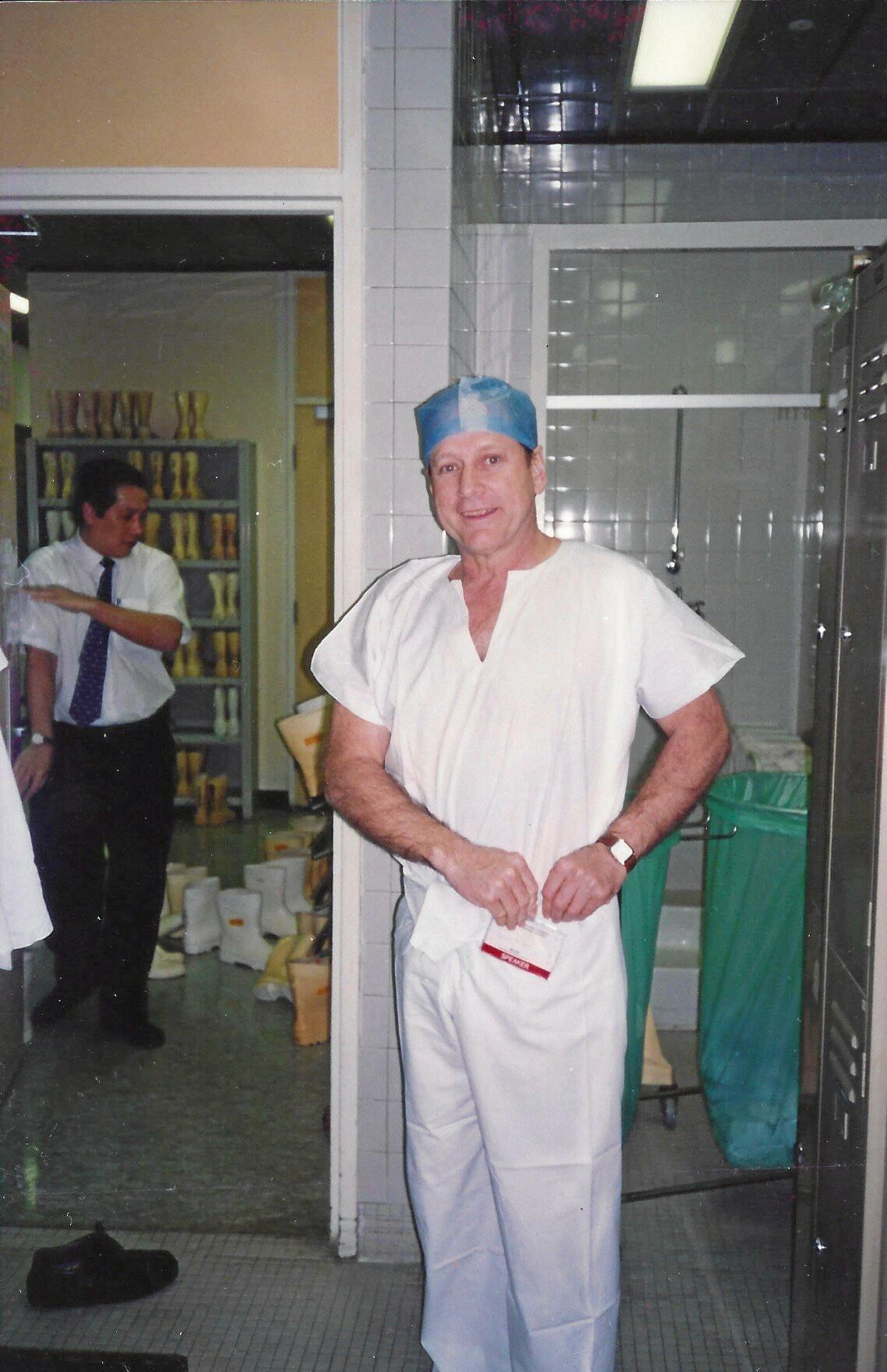 .	Dr Russell Stitz as a visiting surgeon in Singapore in 1993