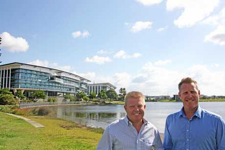 LAKEFRONT LEASING: Jason O'Meara and Scott Gardiner of Savills on site at The Edge, Birtinya. The two high-profile corporate office buildings with green-star energy rating offer up to 7000sq m of space for lease.