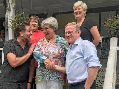 (Left): Byron Shire Council Mayor Simon Richardson, Bangalow Historical Society life member Margaret Brown and President Vivienne Gorec with MLC Ben Franklin and volunteer Tracey Wild.