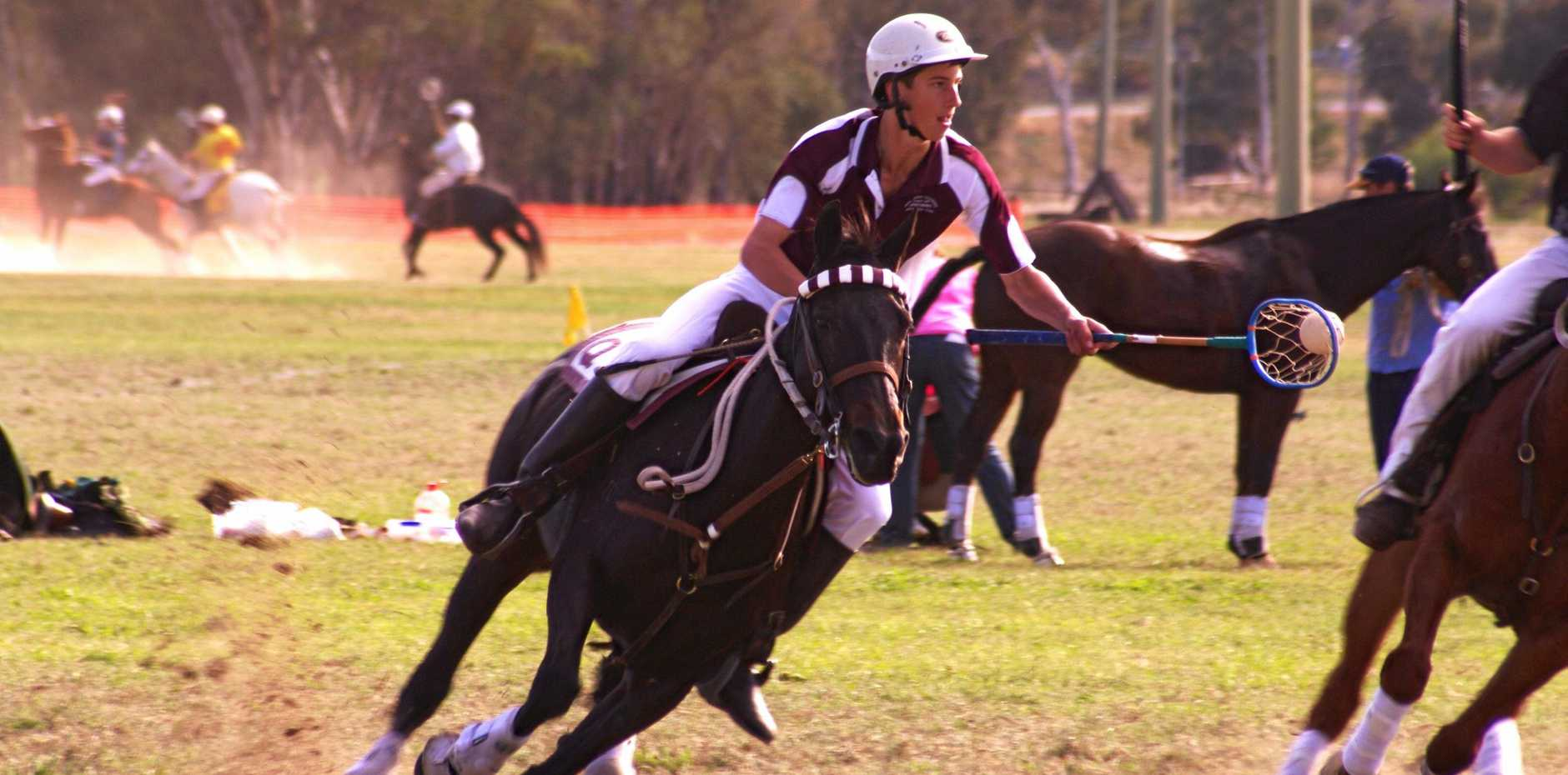 GAME, NET, MATCH: Chinchilla Polocrosse Club member Sam Muller in action.