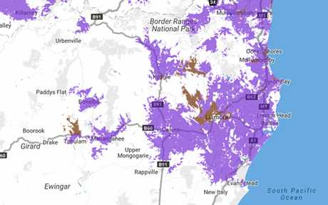 NBN roll out map across the Northern Rivers.