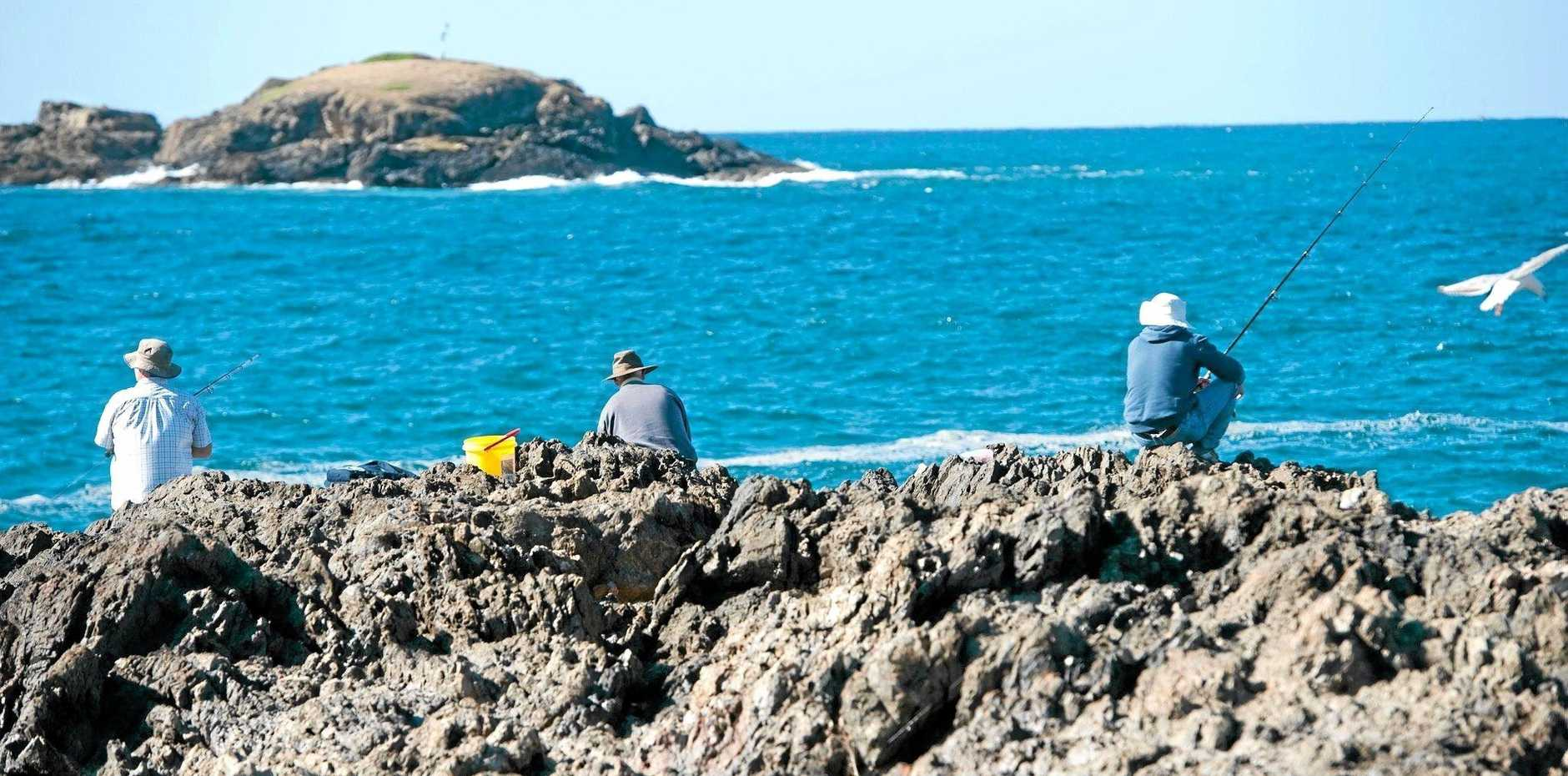 CALM BEFORE: Coffs Harbour South Wall looks safe for rock fishers here but big seas bring treacherous conditions.
