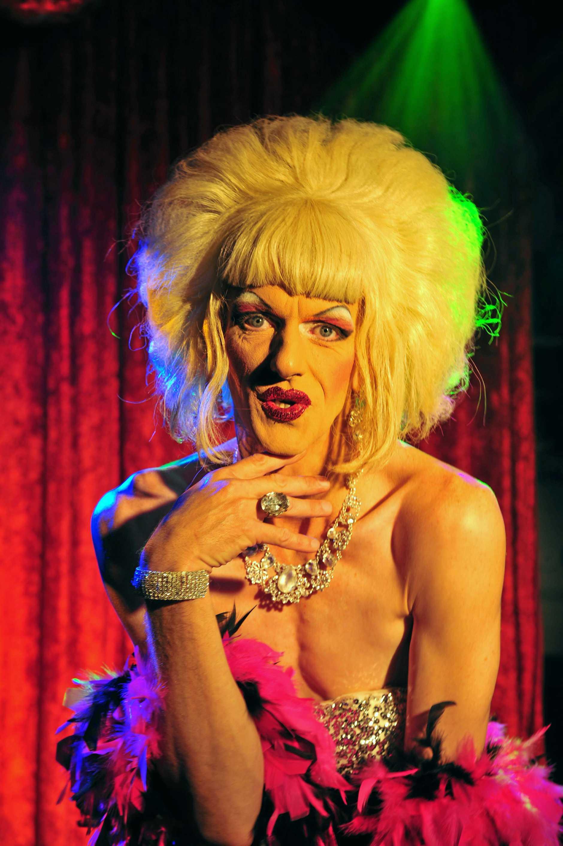 Matt Duncan plays Melony Breasts.  Photo Geoff Potter/Noosa News.