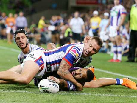 Josh Addo-Carr gets the ball over the try line to score. Pic: Michael Klein
