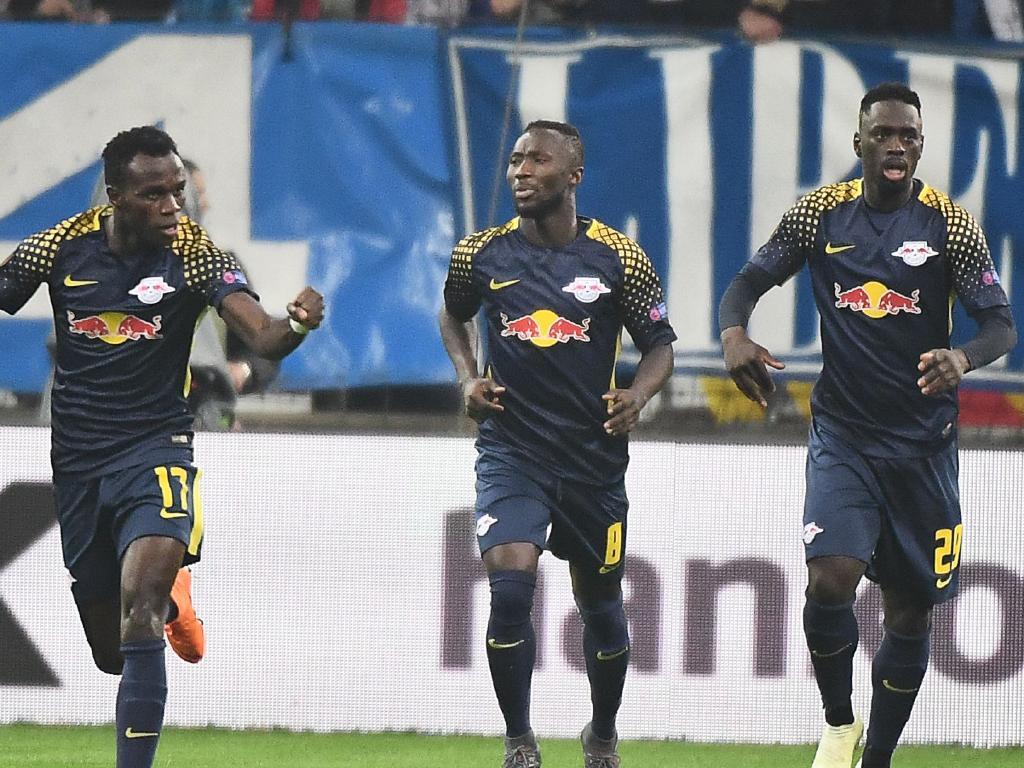 Leipzig's Guinean midfielder Naby Keita, centre.