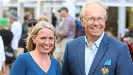 GOLDOC Chairman Peter Beattie and Queensland Commonwealth Games Minister Kate Jones.
