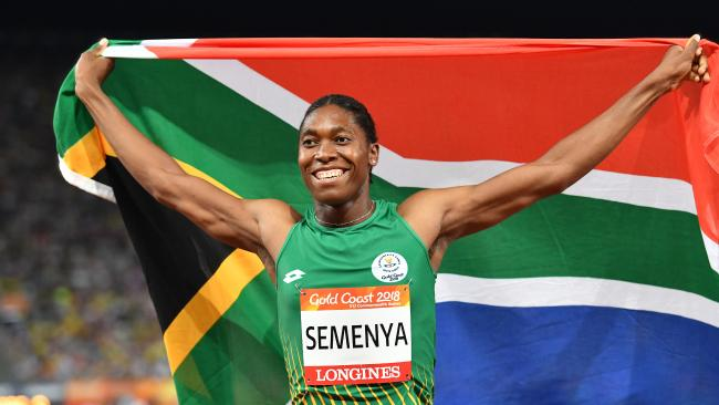 Caster Semenya of South Africa celebrates after winning the Women's 800m Final on day nine of the XXI Commonwealth Games, at Carrara Stadium on the Gold Coast, Australia, Friday, April 13, 2018. (AAP Image/Darren England) NO ARCHIVING, EDITORIAL USE ONLY