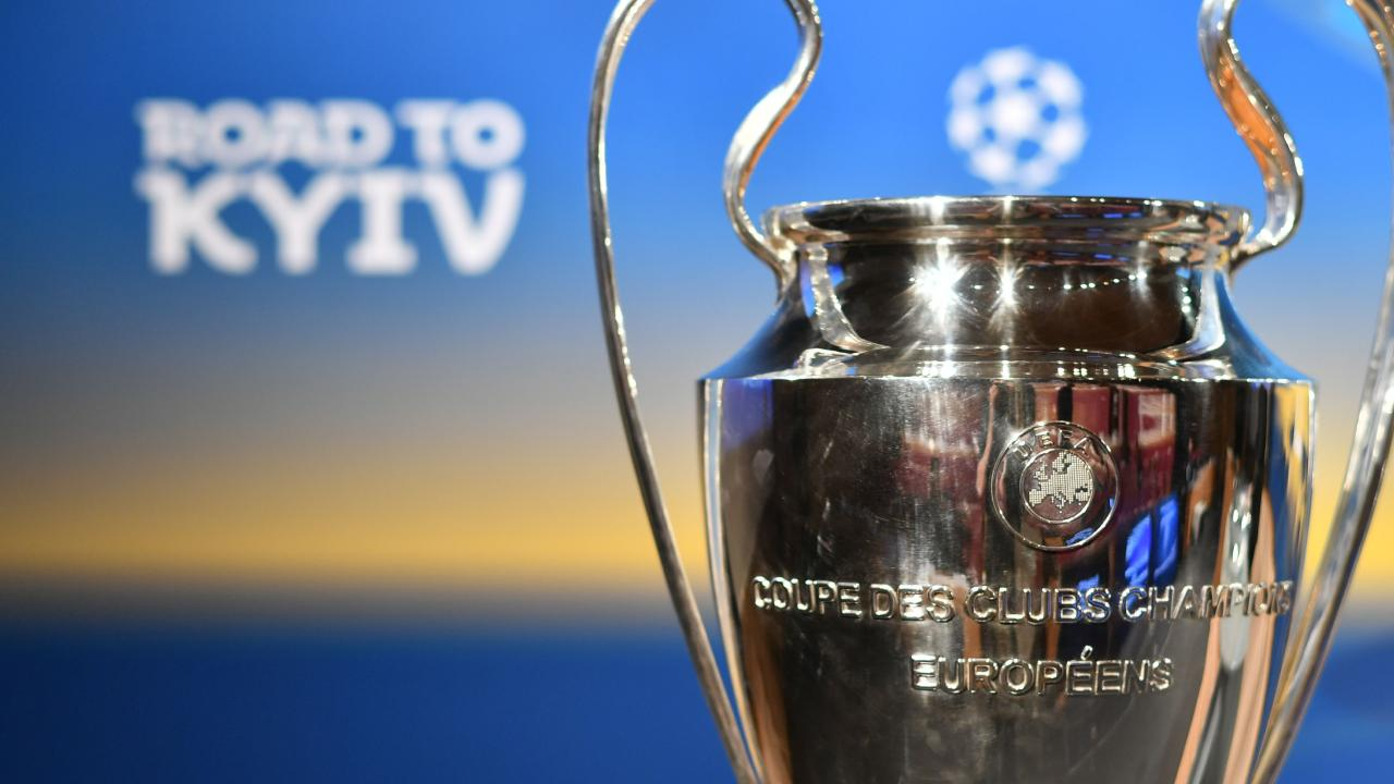 The European Cup at the Champions League draw in Kiev on Friday night.