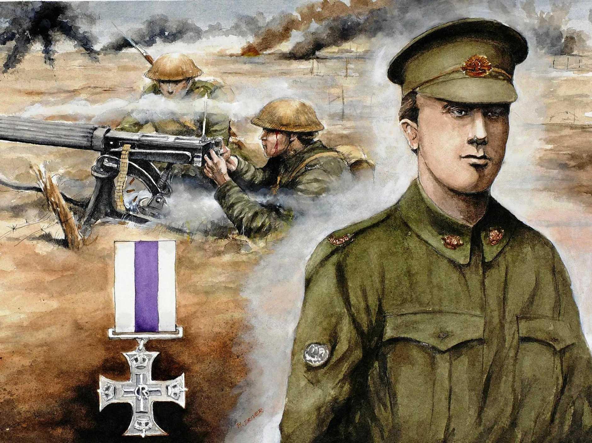 ART: Ross Driver, Lieutenant Norman Bunn, MC, 11th Machine Gun Coy, 2017, watercolour on paper.