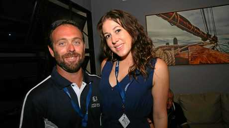 Whitsunday Sailing Club commodore Clayton Matthews and Natasha Beverstock at the launch of Airlie Beach Race Week on Thursday.