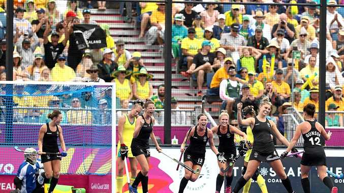 New Zealand's Olivia Merry celebrates after scoring her team's second goal in the gold medal match. NZ won 4-1.