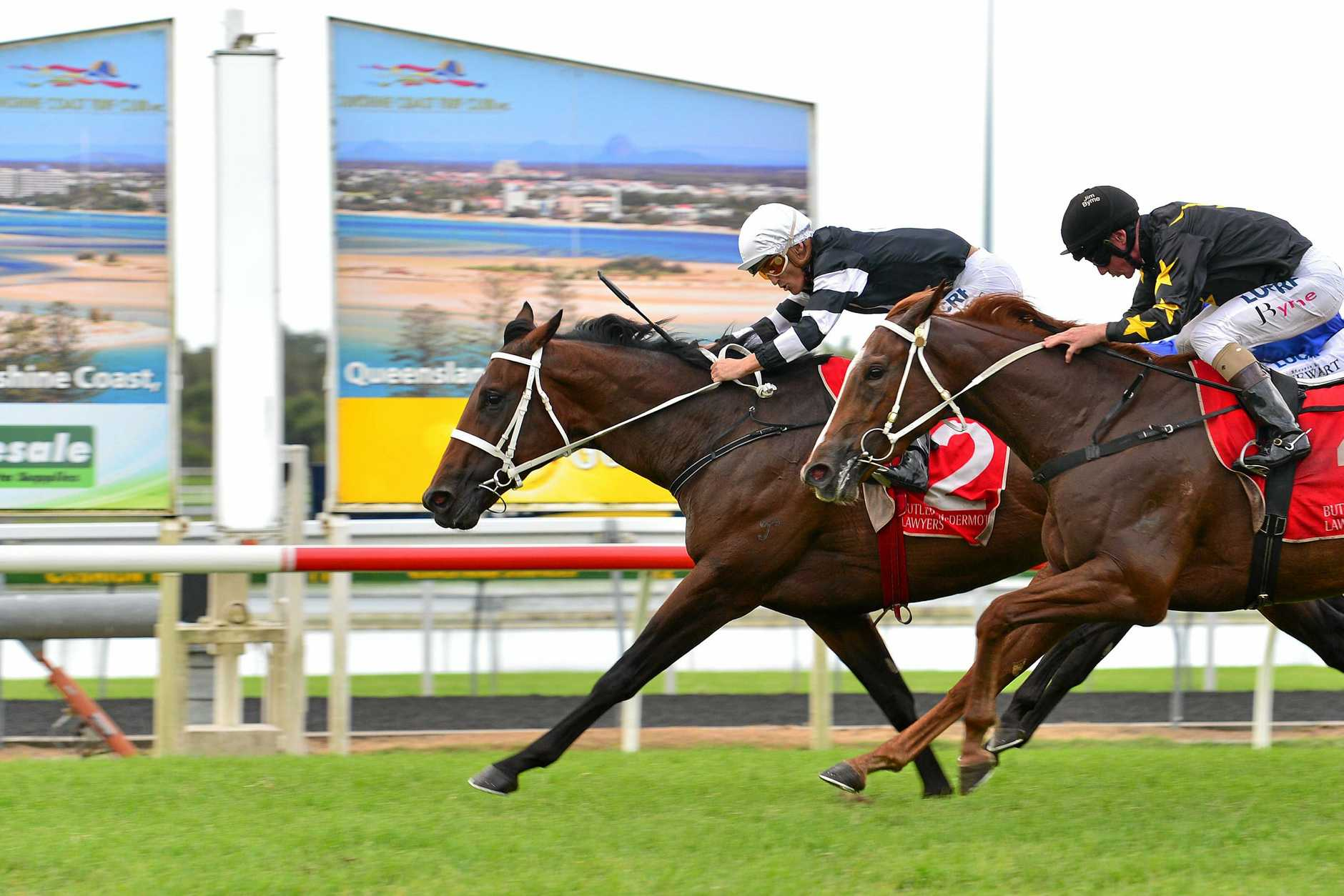 VICTORIOUS: Damian Browne with Improvise, left, in The Go Electrical Princess Stakes (1600m).