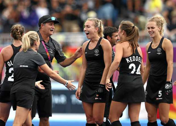 HISTORY: Maryborough-born New Zealand coach Mark Hager congratulates his players after they claimed the women's hockey gold medal courtesy of a 4-1 demolition of the Hockeyroos. It was New Zealand's first Olympic or Commonwealth Games gold medal.
