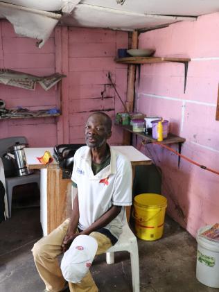 A client visits the barber shop. Picture: Megan Palin.