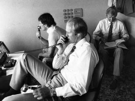Tony Grieg in the Channel 9 commentary box with Chappell and Benaud.