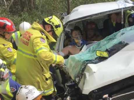 Sam Lethbridge is rescued from the car.