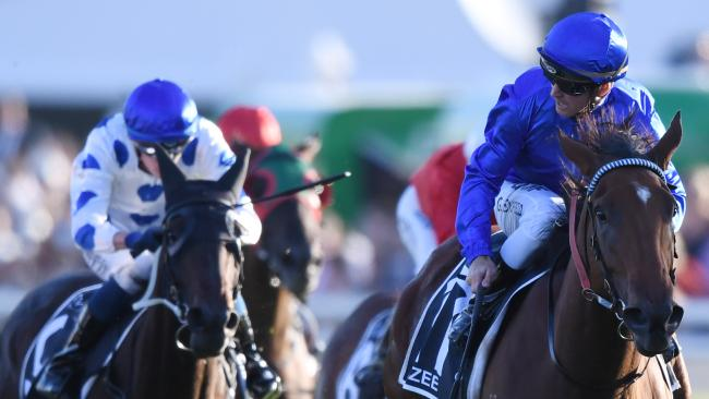 Glyn Schofield guides Alizee to victory in the Coolmore Legacy Stakes at Randwick on Saturday. Picture: David Moir/AAP