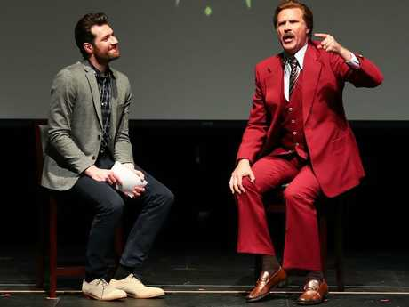 Billy Eichner and Will Ferrell as Ron Burgundy as part of a Funny Or Die event that the comedian was coming back from when his car flipped. Picture: Getty