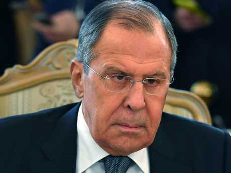 Russian Foreign Minister Sergei Lavrov has said the chemical weapons attack in Syria was staged by humanitarian groups. Picture: Yuri KADOBNOV