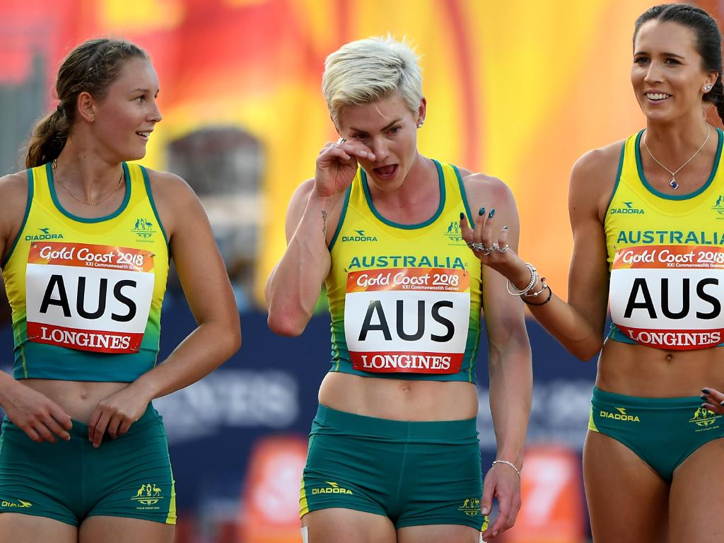 Mel Breen's fall ended up not being costly as the relay team was disqualified following an error in the first changeover. Picture: AAP Image/Dean Lewins