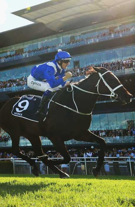 Hugh Bowman and Winx cruise to victory in the Group 1 Queen Elizabeth Stakes. Picture: Getty Images