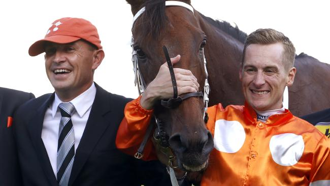 Trainer Chris Waller and jockey Blake Shinn were all smiles after Who Shot Thebarman's win in the Sydney Cup. Picture: AAP