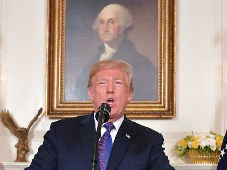 US President Donald Trump addresses the nation on the situation in Syria. Picture: AFP/Mandel Ngan