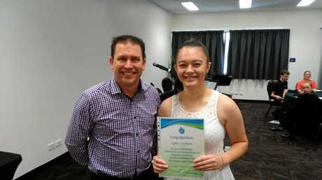 WELL DONE: Mayor Matt Burnett congratulates Kyla Ingram at the Mayors Youth Breakfast
