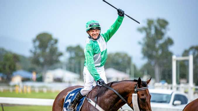 WINNING FEELING: Te Rangi ridden by Jason Hoopert taking out the Ray Groom Plumbing 100 Club Cup on Saturday.