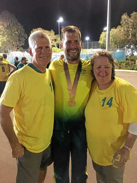 Bundaberg's Aaron Kleinschmidt with his parents Ian and Mary.