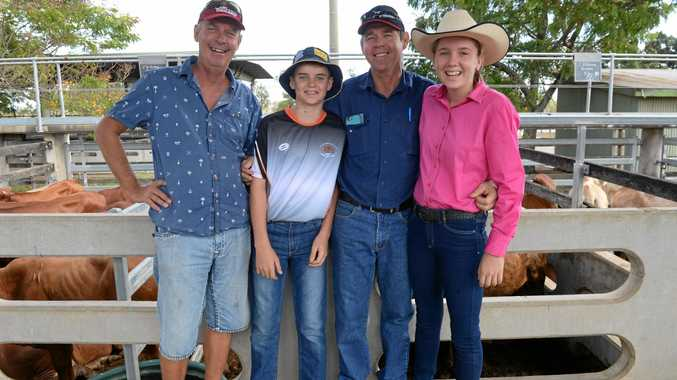 Greg Medhurst with Lachlan, Paul and Emma Huntly.