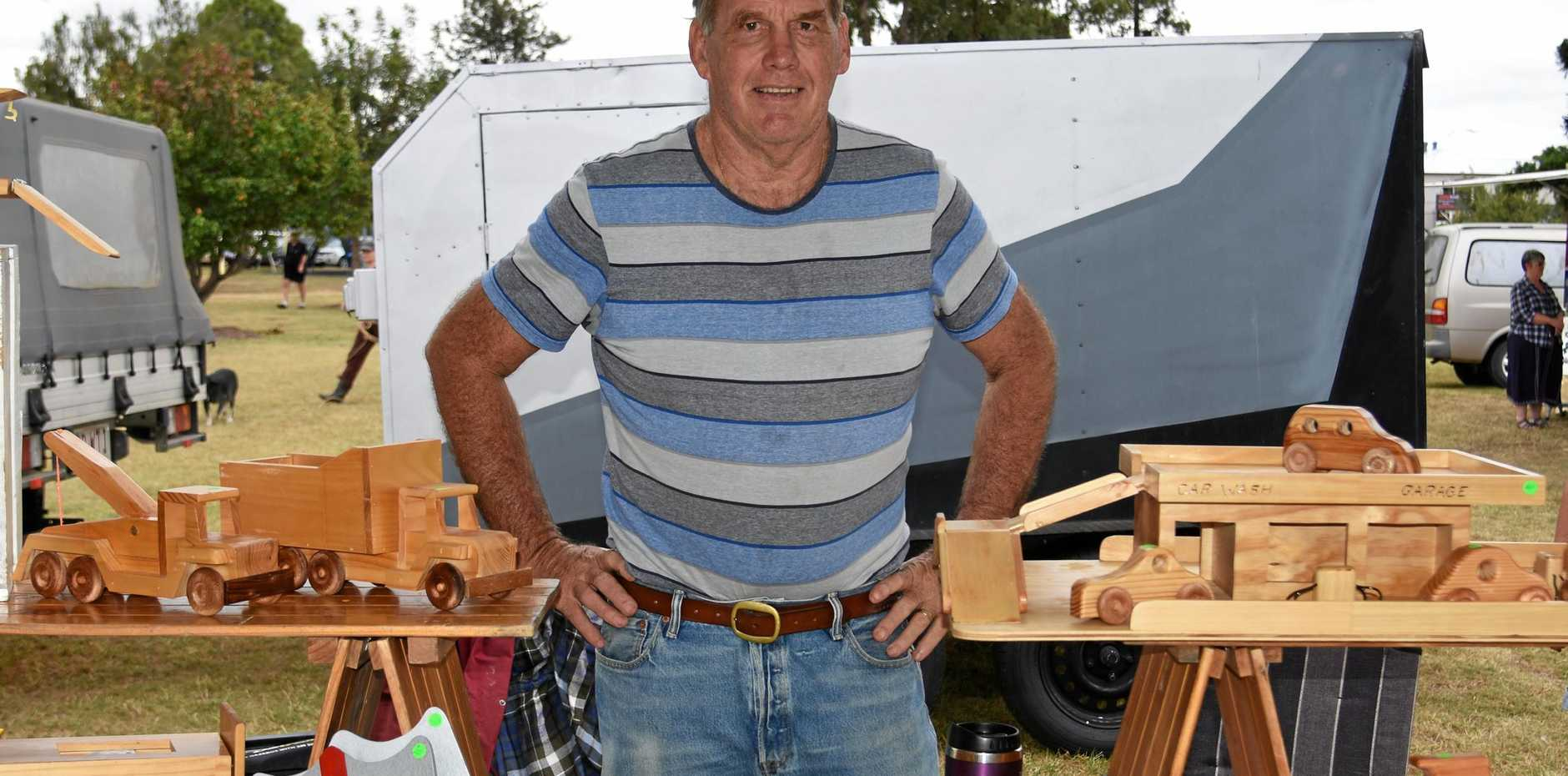 CREATOR: Chris Guymer makes handmade wooden toys from his home in Warwick.