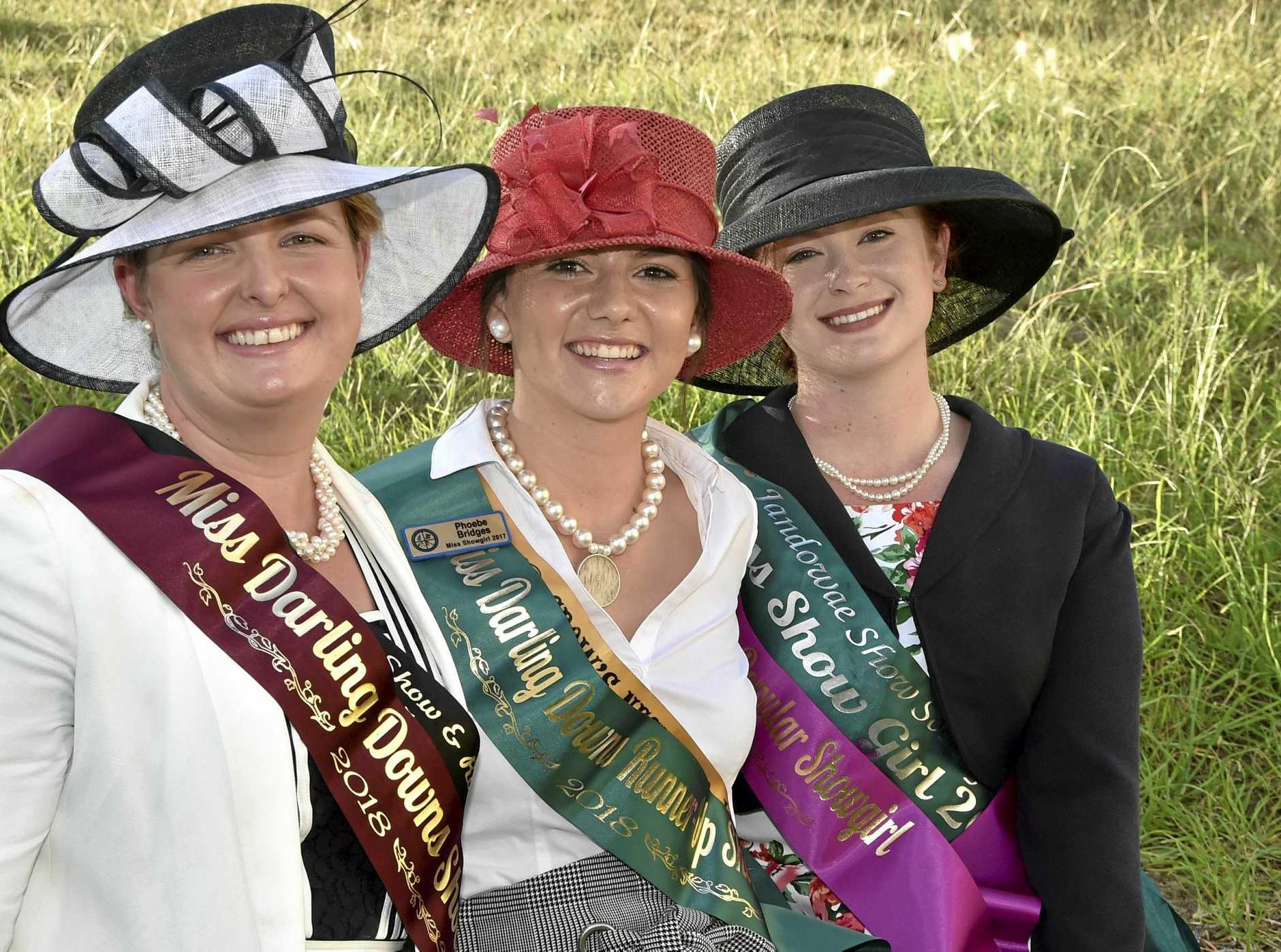 CROWNED: Celebrating their wins are (from left) Miss Darling Downs Showgirl Sarah Wilson, Miss Darling Downs Showgirl runner-up Phoebe Bridges and Miss Popular Adrienne Magnussen.