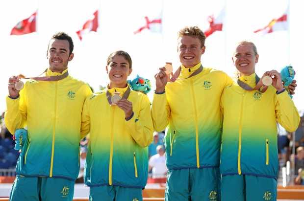 Gold medalists Gillian Backhouse, Matthew Hauser, Ashleigh Gentle and Jacob Birtwhistle.